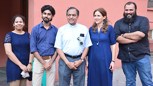 Philippa Frisby, Shashank Sharma, Alok Mishra, Father Joe Kensal and another young girl pose for a photo