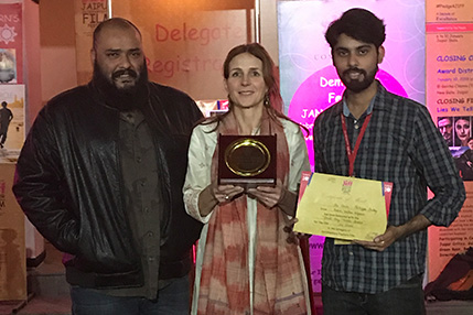 Philippa Frisby, Shashank Sharma and Alok Mishra pose with their awards