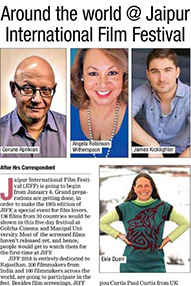 A newspaper extract titled 'Around the world @ Jaipur International Film Festival'