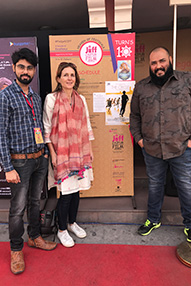 Philippa Frisby, Shashank Sharma and Alok Mishra on the red carpet